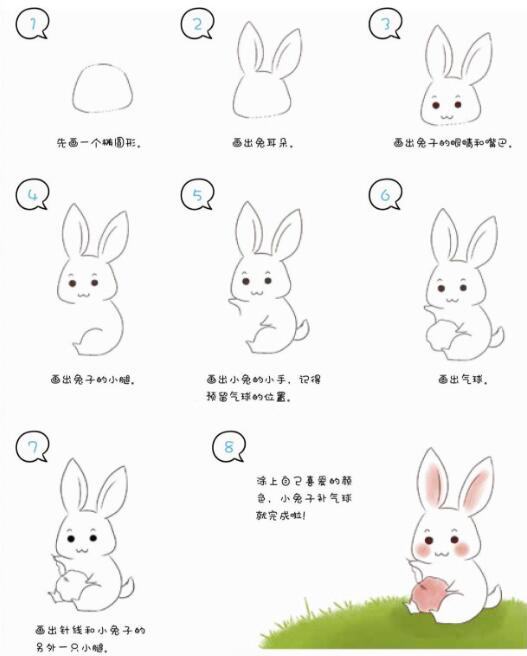 可爱兔子简笔画彩色详细步骤 儿童简笔画图片大全 儿童简笔画图片教程