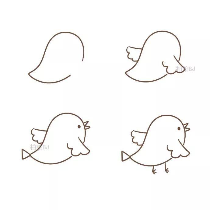 小鸟简笔画步骤图片教程,超级简单,一看就会.