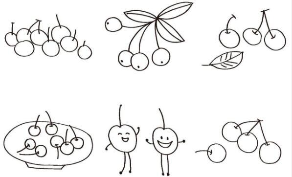 樱桃简笔画图片大全 儿童简笔画图片大全 儿童简笔画图片教程 爱好简笔画
