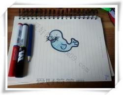 简笔画教程图片步骤,海豹的简笔画教程图片