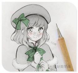 可爱的动漫女生简笔画半身画