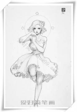 跳舞的女孩简笔画