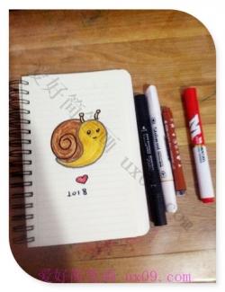 非常可爱的蜗牛简笔画教程