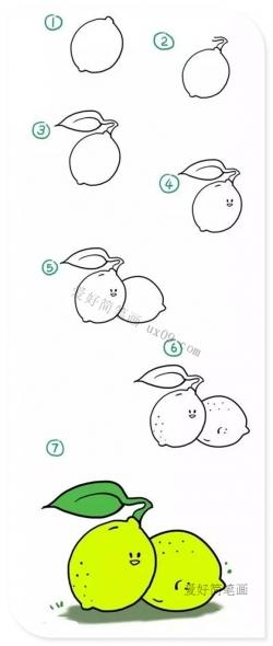 柠檬简笔画图片带颜色