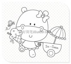 呆萌可爱的卡通小猫简笔画