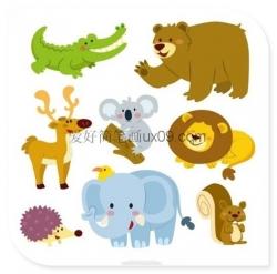 各种萌萌的动物简笔画 彩色