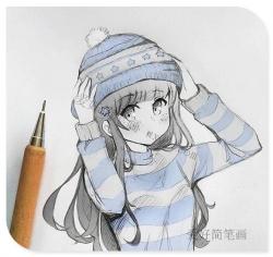 萌系动漫女生半身简笔画
