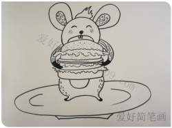卡通老鼠的画法-吃汉堡的小老鼠简笔画