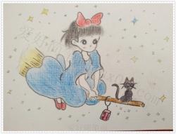 一步一步教你画小女孩-骑着飞天扫帚的女孩