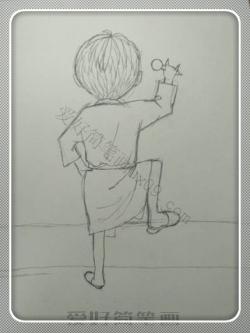 男孩背影简笔画