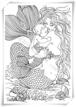 美人鱼简笔画 漂亮
