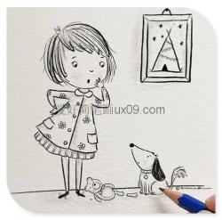 小女孩和调皮的小狗简笔画