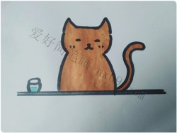 酷酷的小猫简笔画步骤图