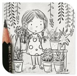 三幅可爱女孩铅笔画