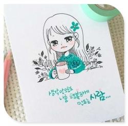 韩式可爱的女生彩色简笔画