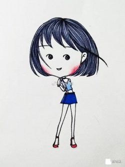 可爱女生简笔画图片,带详细步骤