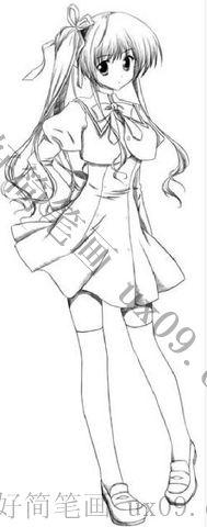 素描铅笔画简笔画动漫女孩