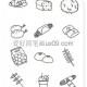 萌系物品食物简笔画