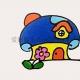 蘑菇房子简笔画带颜色