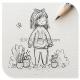铅笔画的可爱女孩