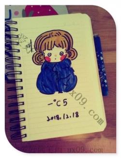 好冷的天,好可爱的女孩简笔画