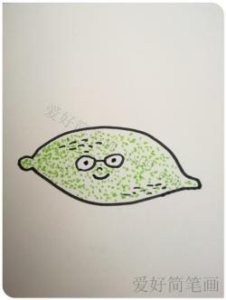 简单可爱的绿色卡通柠檬简笔画教程