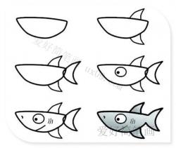 简单的鲨鱼简笔画步骤