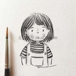 简单的女孩铅笔画
