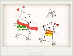 滑雪的可爱小熊简笔画教程