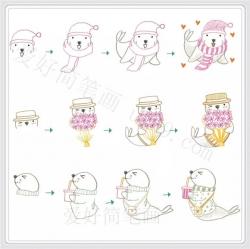 可爱呆萌的海豹简笔画画法步骤图