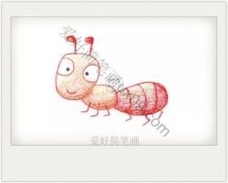 呆萌可爱的小蚂蚁简笔画 彩色