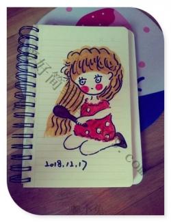 可爱小女孩梳头发简笔画
