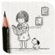 用铅笔画的可爱女孩作品图片