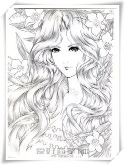 漂亮长头发女孩简笔画