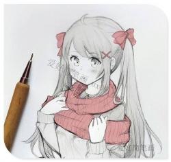 女孩半身动漫简笔画