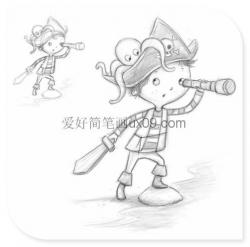 可爱的小男孩船长简笔画