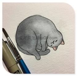非常可爱的猫咪简笔画彩色