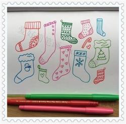圣诞节袜子简笔画图片