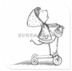 可爱的小女孩滑板车简笔画