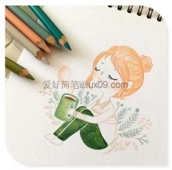 非常漂亮的女生彩铅简笔画