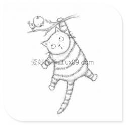 铅笔画猫咪图片简单
