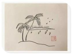 简单的山水风景图片简笔画