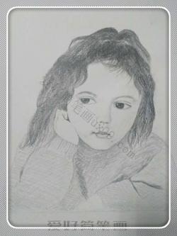 素描画人物女孩 简笔画 简单