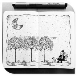 黑白线条简笔画