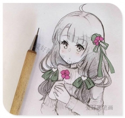 可爱的少女动漫简笔画图片