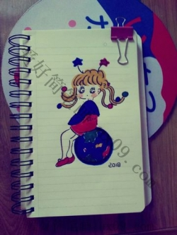 三幅可爱的韩式小女孩简笔画