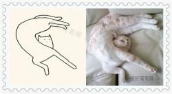 可爱的创意猫咪简笔画大全2