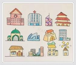 房子简笔画图片带颜色