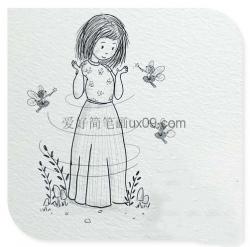 简单漂亮的女生铅笔画