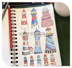 简单漂亮的灯塔简笔画图片